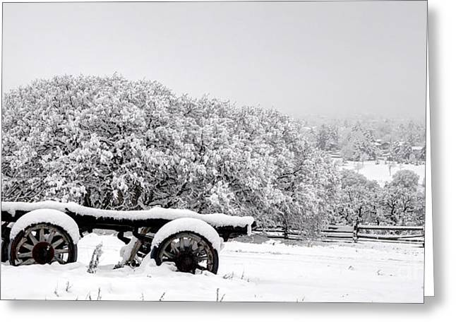 Vintage Wagon In Snow And Fog Filled Valley Greeting Card by Gary Whitton