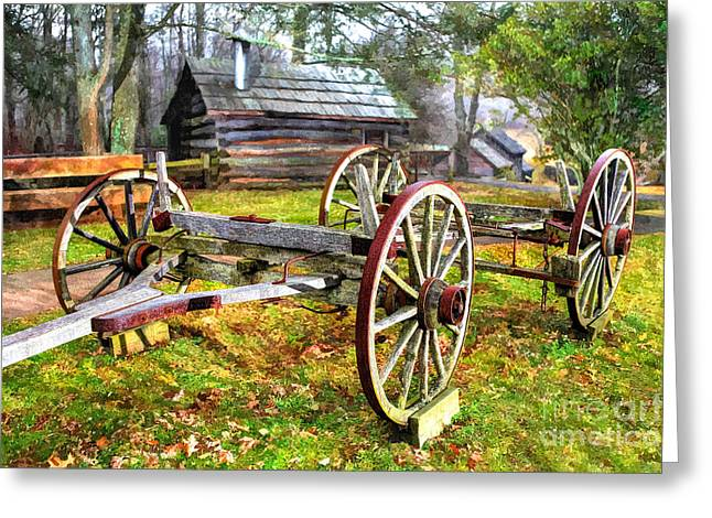 Horse And Cart Greeting Cards - Vintage Wagon on Blue Ridge Parkway I Greeting Card by Dan Carmichael