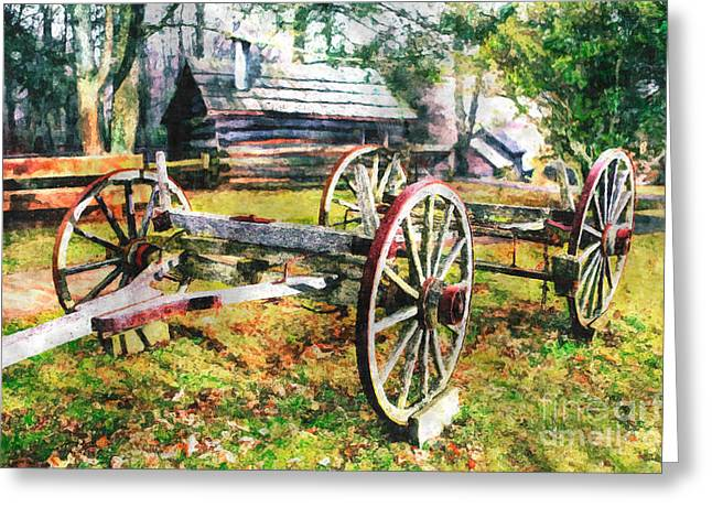Vintage Wagon on Blue Ridge Parkway II Greeting Card by Dan Carmichael