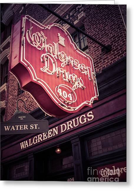 Drug Stores Greeting Cards - Vintage Walgreen Drugs Store Neon Sign Greeting Card by Edward Fielding