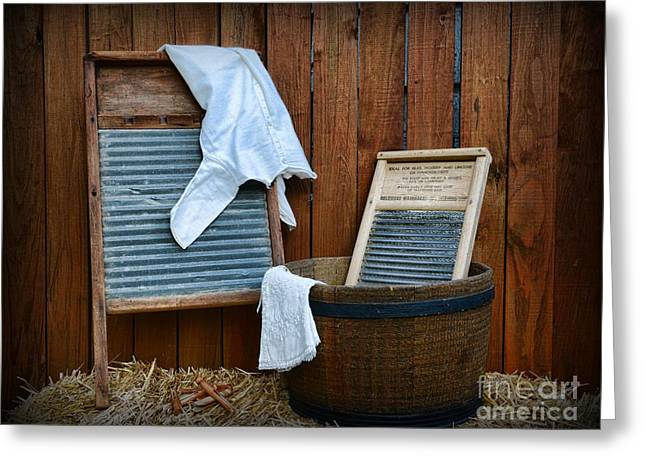 Laundry Mat Greeting Cards - Vintage Washboard Laundry Day Greeting Card by Paul Ward