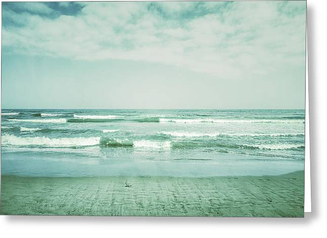 Blue Green Wave Greeting Cards - Vintage waves Greeting Card by Guido Montanes Castillo
