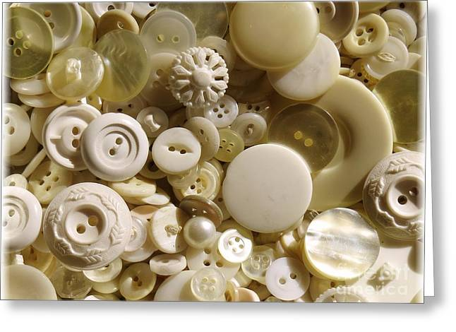 Vintage White Buttons Greeting Card by Carol Groenen