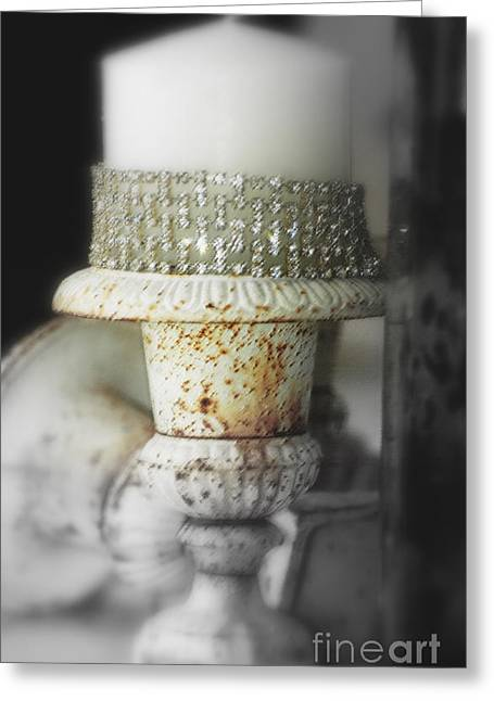 Swarovski Greeting Cards - Vintage white on white luxe Greeting Card by adSpice Studios