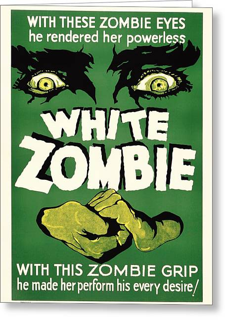 Signed Drawings Greeting Cards - Vintage White Zombie Movie Poster Greeting Card by Mountain Dreams