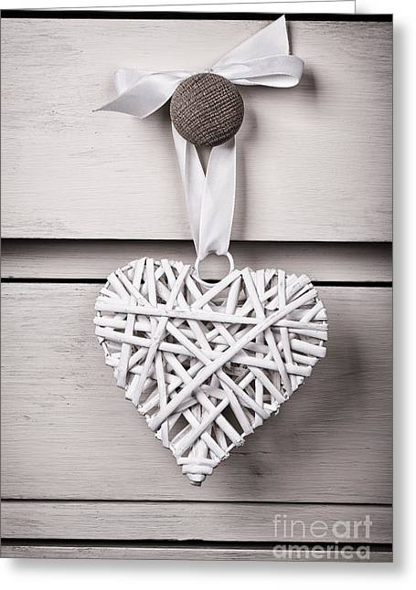 Old Objects Greeting Cards - Vintage wicker heart Greeting Card by Jane Rix