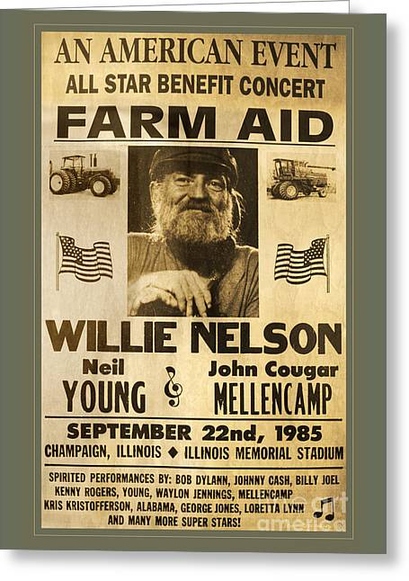 Vintage Willie Nelson 1985 Farm Aid Poster Greeting Card by John Stephens