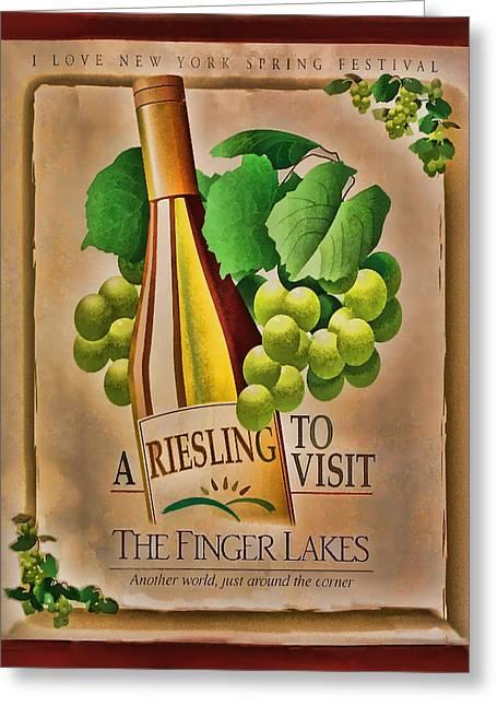 Grape Leaf Greeting Cards - Vintage Wine Poster Greeting Card by Linda Phelps