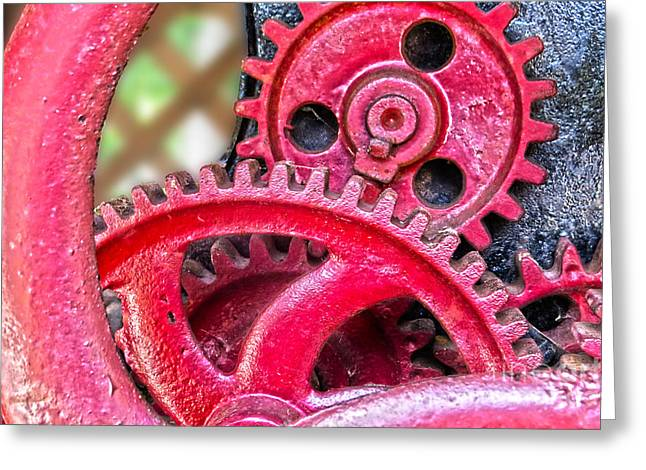 Mechanism Photographs Greeting Cards - Vintage Wine Press Gears Greeting Card by Dawn Gari