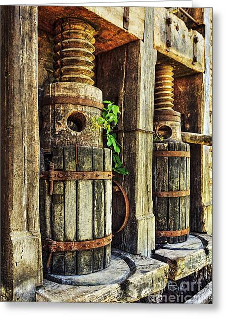 Napa Valley Digital Greeting Cards - Vintage Wine Press HDR Greeting Card by James Eddy