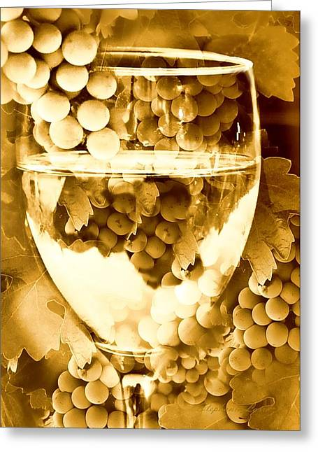 Grape Leaves Greeting Cards - Vintage Wine Greeting Card by Stephanie Laird