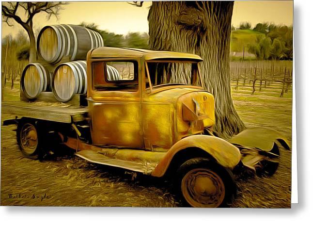 California Vineyard Paintings Greeting Cards - Vintage Wine Vintage Truck Greeting Card by Barbara Snyder