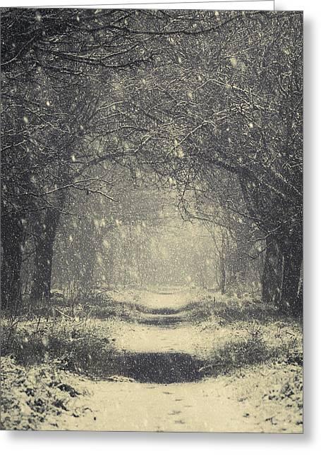 Snowy Roads Digital Art Greeting Cards - Vintage Winter Greeting Card by Svetlana Sewell
