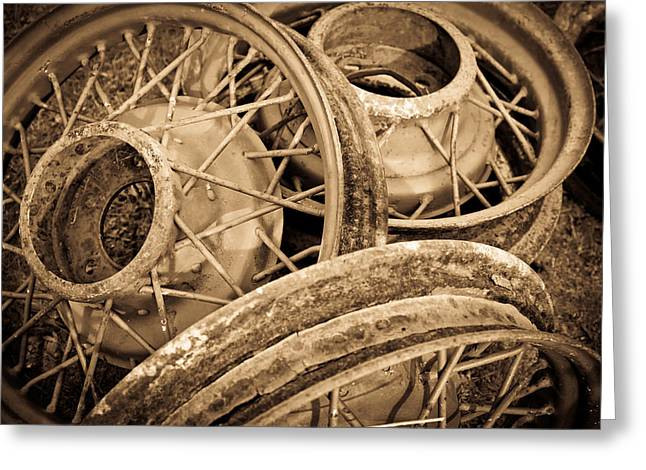 Vintage Wire Wheels Greeting Card by Steve McKinzie