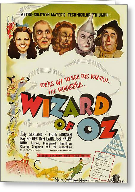 Signed Drawings Greeting Cards - Vintage Wizard of Oz Movie Poster 1939 Greeting Card by Mountain Dreams