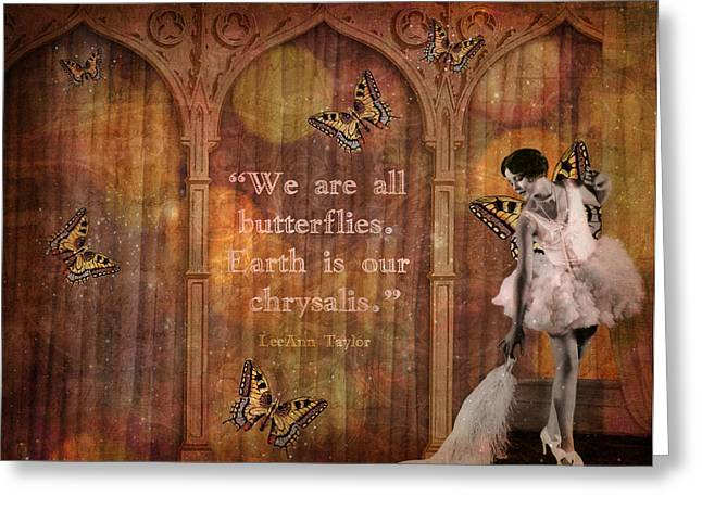 Vintage Woman We Are All Butterflies Greeting Card by Cat Whipple