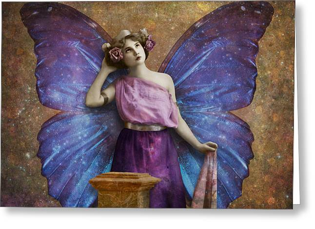 Vintage Beauty Greeting Cards - Vintage Woman With Butterfly Wings Greeting Card by Cat Whipple