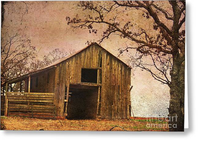 Old Barns Digital Art Greeting Cards - Vintage Wood Barn Greeting Card by Betty LaRue