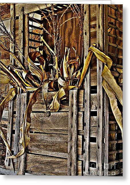 Artistic License Greeting Cards - Vintage Wood Chicken Carrier and Corn Bouquet Greeting Card by JW Hanley