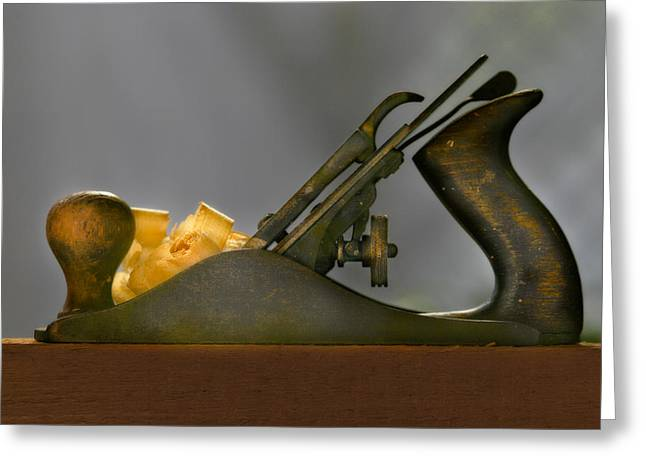 Hand Tooled Greeting Cards - Vintage Wood Smoothing Plane Greeting Card by David and Carol Kelly