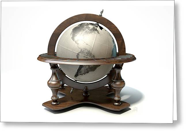 Longitude Greeting Cards - Vintage Wooden World Globe Greeting Card by Allan Swart
