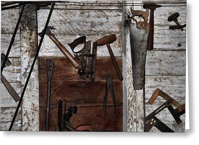 Vintage Log Houses Greeting Cards - Vintage Work Room Greeting Card by Dan Sproul