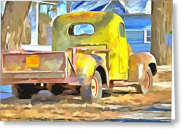 Classic Pickup Paintings Greeting Cards - Vintage Work Truck Greeting Card by L Wright