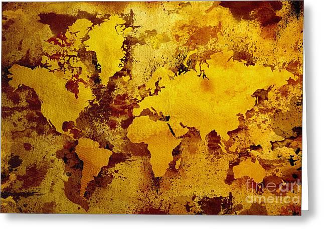 Vintage World Map Greeting Card by Zaira Dzhaubaeva