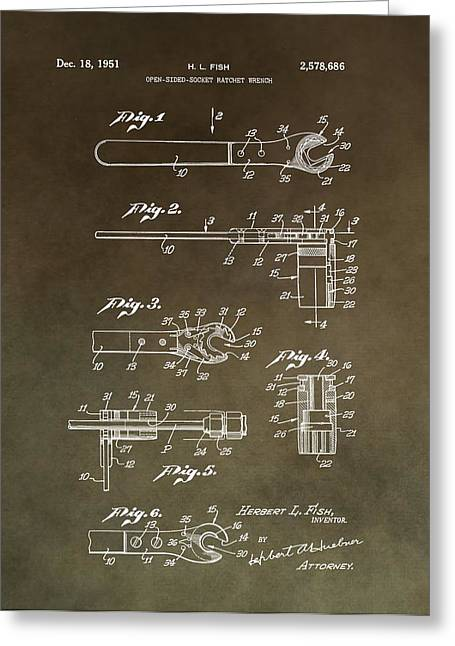 Nuts Mixed Media Greeting Cards - Vintage Wrench Patent Greeting Card by Dan Sproul