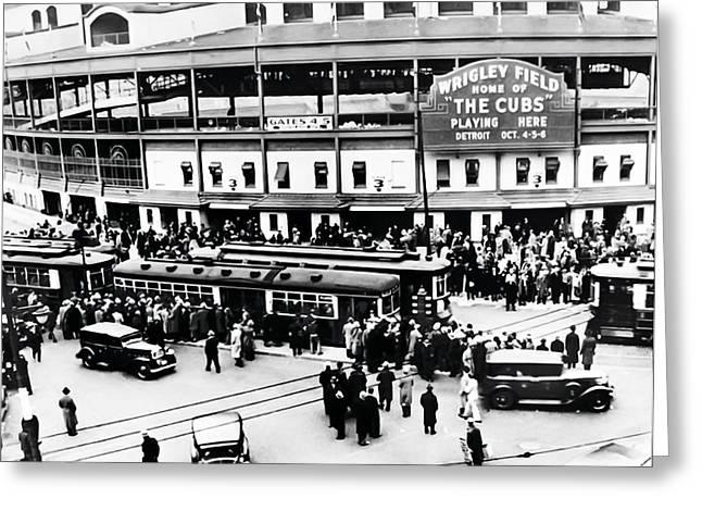 Chicago Digital Greeting Cards - Vintage Wrigley Field Greeting Card by Bill Cannon