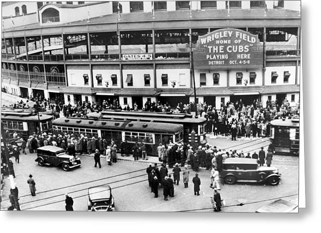 Wrigley Field Greeting Cards - Vintage Wrigley Field Greeting Card by Horsch Gallery