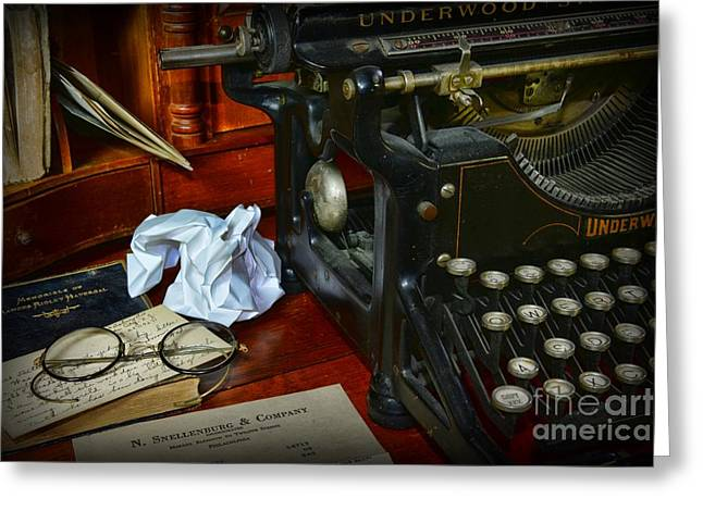 Typewriter Greeting Cards - Vintage Writers Desk Greeting Card by Paul Ward