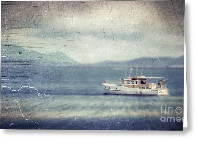 Ocean Photography Digital Art Greeting Cards - Vintage Yacht Greeting Card by Perry Webster