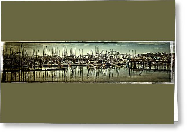 Oregon Coast Greeting Cards - Vintage Yaquina Bay Greeting Card by Thom Zehrfeld