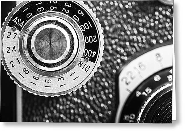 Vintage Yashica 635 Camera - Asa Dial Greeting Card by Jon Woodhams