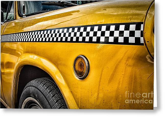 Vintage Yellow Cab Greeting Card by John Farnan
