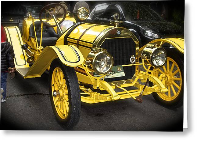 Rally Greeting Cards - Vintage Yellow Roadster Greeting Card by Venetia Featherstone-Witty