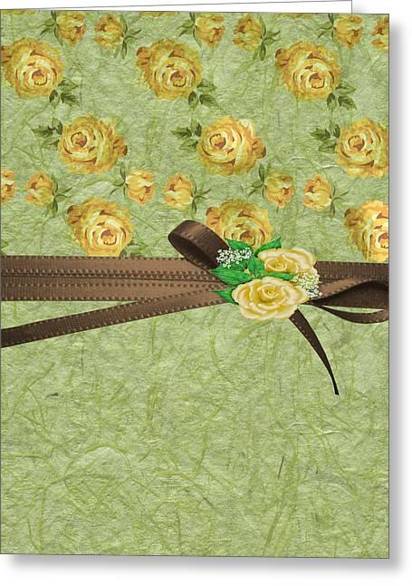 Babies Breath Greeting Cards - Vintage Yellow Roses Greeting Card by Debra  Miller