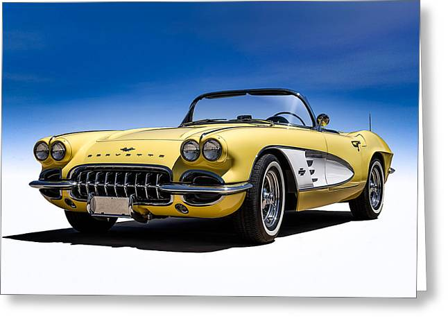 Vintage Greeting Cards - Vintage Yellow Vette Greeting Card by Douglas Pittman