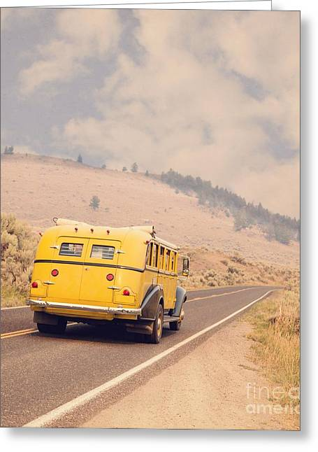Scenic Drive Greeting Cards - Vintage Yellowstone Bus Greeting Card by Edward Fielding