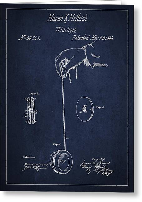 Toy Greeting Cards - Vintage Yoyo Patent Drawing from 1866 Greeting Card by Aged Pixel