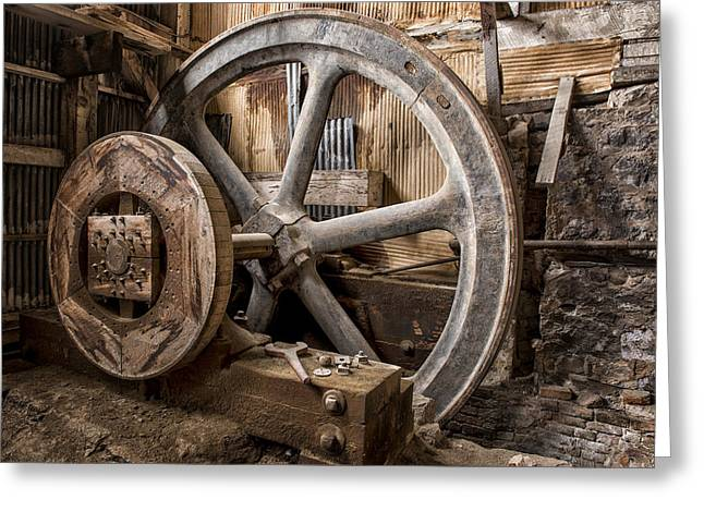 Industrial Gears Greeting Cards - Vintage.1447 Greeting Card by Gary LaComa