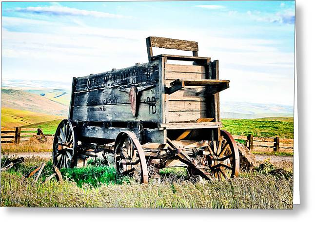 Horse And Cart Greeting Cards - Vintaged Covered Wagon Greeting Card by Athena Mckinzie