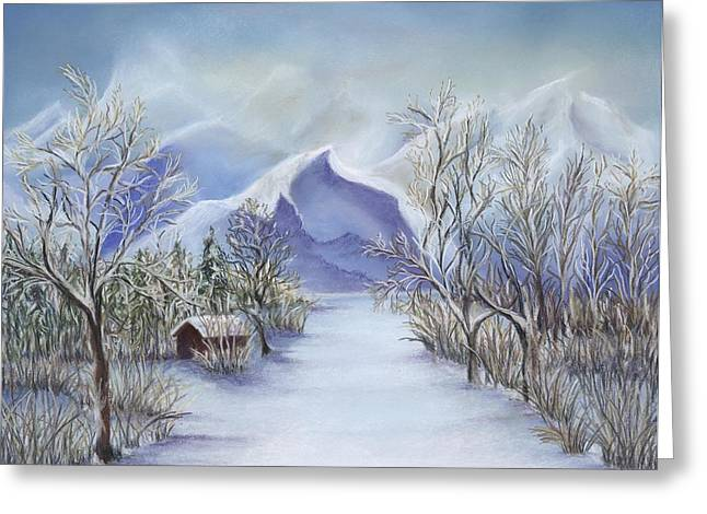 Winter Scene Pastels Greeting Cards - Vinter Fjell Greeting Card by Andrea Rosa
