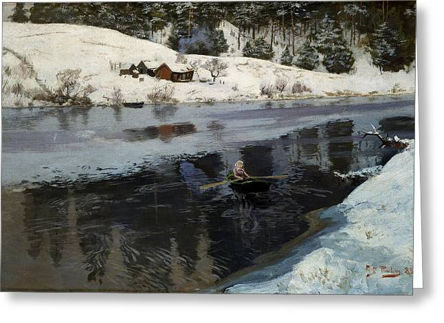 Thaulow Greeting Cards - Vinter ved Simoa Greeting Card by Celestial Images