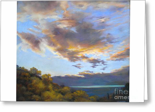 Impressionism Reliefs Greeting Cards - Vinuela sunset Greeting Card by Heather Harman
