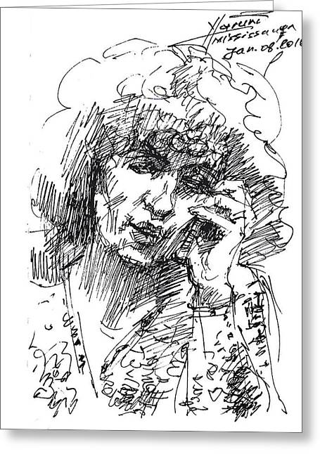On The Phone Greeting Cards - Viola on the phone Greeting Card by Ylli Haruni