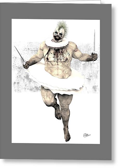 Creepy Drawings Greeting Cards - Scary clown By Quim Abella Greeting Card by Joaquin Abella