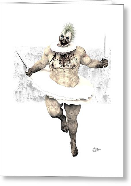 Scary Clown Greeting Cards - Scary clown  Greeting Card by Joaquin Abella