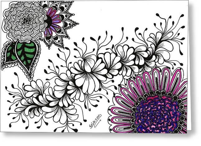 Algae Drawings Greeting Cards - Violet Algae Greeting Card by Silvia Ricciardi